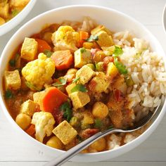 Cauliflower, garbanzo beans and tofu are subtle on their own, but together they make an awesome base for curry. We have this recipe weekly because one of us is always craving it. —Patrick McGilvray, Cincinnati, Ohio Tofu Recipes, Curry Recipes, Indian Food Recipes, Asian Recipes, Vegetarian Recipes, Dinner Recipes, Healthy Recipes, Pea Recipes, Vegetarian Options