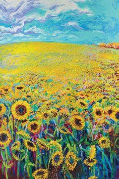 Sonnenblume Triptychon Panel I Leinwand Kunst von Iris Scott Inspiration Art, Art Inspo, Graffiti Kunst, Art Sur Toile, Van Gogh Art, Sunflower Art, Sunflower Painting Van Gogh, Art Abstrait, Vincent Van Gogh