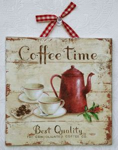 "Country Shabby Chic ""Coffee Time"" Picture Plaque - Charming kitchen home decor Vintage Country, Vintage Shabby Chic, Vintage Diy, Country Style, I Love Coffee, My Coffee, Coffee Break, Coffee Town, Expresso Coffee"