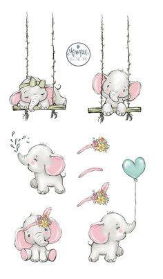 Baby Elephant Nursery, Pink Elephant, Cute Baby Elephant, Cute Elephant Drawing, Lama Animal, Dibujos Baby Shower, Baby Girl Drawing, Baby Elefant, Elephant Illustration