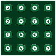 Набор из 16 микс белых иконок на скругленном зеленом прямоугольнике на темном зеленом фоне Мультяшный стиль Бесплатные векторы