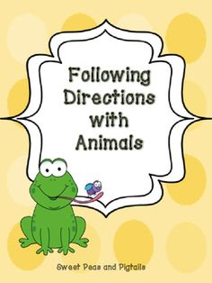 FREE! Includes 48 directions and 12 animal cards. Lay the animal cards out in front of the student and give them a direction to follow based on their skill level (1-step, 2-step, temporal, conditional).