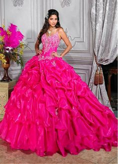Charming Organza Satin Spaghetti Straps Neckline Floor-length Ball Gown Quinceanera Dress