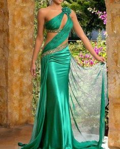 Green Indian One Shouldder Prom Evening Dress Bridesmaid Gown Party Dress Formal Dress Homecoming Quinceanera Dresses Cocktail Indian Gowns Sexy Wedding Dresses, Prom Party Dresses, Sexy Dresses, Beautiful Dresses, Formal Dresses, Gorgeous Dress, Dress Prom, Dresses 2013, Formal Prom