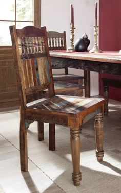 COLORES szék lakkozott indiai öregfa