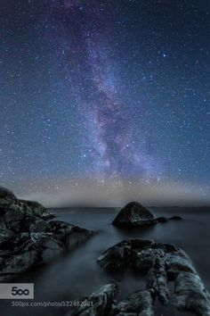 Stars by jari-peltoniemi  beach finland long exposure milky way night night photography rocks sea seascape sky stars water Sta