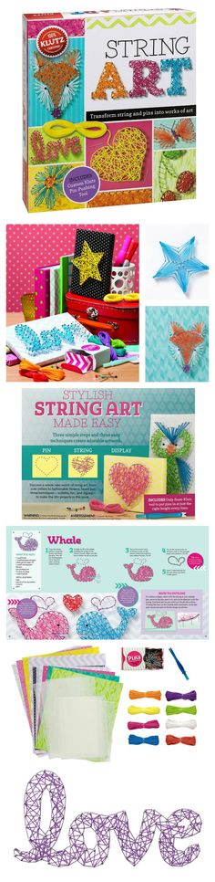 Klutz String Art Book Kit. Transform string and pins into works of art. Includes everything you need to create 6 different string art projects.