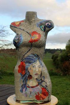 AZUL CELESTE - mosaic torso with stained glass by Sandra Holmes of Beautifully Broken Mosaics - Waiuku, New Zealand