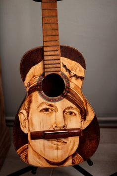Painted Guitar Pyrography Acoustic Art Wood Burned