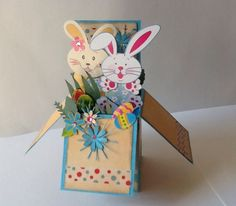 Card in a Box - Happy Easter with bunnies and eggs. Card In A Box, Pop Up Box Cards, Card Boxes, Fancy Fold Cards, Folded Cards, Cricut Cards, Stampin Up Cards, Exploding Box Card, Rena