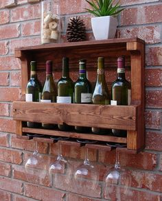 Rustic Wall Mount Wine Rack with 5 Glass Holder and by KeoDecor