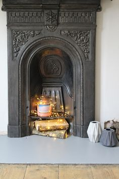 Victorian Fireplace with logs and copper wire fairy lights from Lights4Fun | www.kezzabeth.co.uk