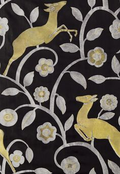 'Les Gazelles Au Bois in Noir' fabric by Schumacher, 1925 world fair in Paris 'les Arts Décoratifs'