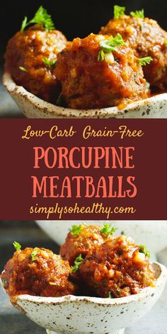This recipe for Low-Carb Porcupine Meatballs makes the most tender meatballs ever! Best of all they work for low-carb ketogenic Atkins gluten-free grain-free diabetic and Banting diets. Low Carb Appetizers, Low Carb Dinner Recipes, Diet Recipes, Diet Tips, Recipes For Diabetics, Smoothie Recipes, Shrimp Recipes, Bread Recipes, Cake Recipes