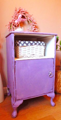 Lovely Bedside Cabinet Painted in Annie Sloan mix to create a Beautiful Lilac Shade. Top Shelf Painted in Old White. Cabriole Legs.