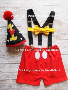Mickey Mouse Birthday cake smash outfit costume by GinaBellas1