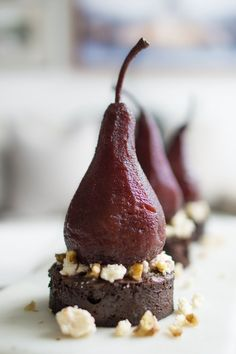 Port Poached Pear Chocolate Cake served with Dragons Breath Blue Cheese is a balanced harmony dessert that will impress any guest or simply finish off a meal with eleganc. Creative Desserts, Fancy Desserts, Delicious Desserts, Fancy Chocolate Desserts, Blue Desserts, Elegant Desserts, Chocolate Decorations, Real Food Recipes, Cake Recipes