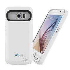 Galaxy S6 Battery Case Stalion Stamina Rechargeable Extended Charging Case Ceramic White 3500mAh Protective Charger Cover with LED Charge Indicator Light ** Want to know more, click on the image.