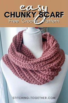 Chunky Infinity Scarf Crochet, Crochet Infinity Scarf Free Pattern, Crochet Scarf Easy, Crochet Patterns, Free Crochet, Crochet Scarves, Crochet Cowls, Diy Knitting Scarf, Infinity Scarfs