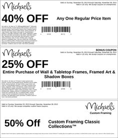 Pinned November 3rd: 40% off a single item and more at Michaels #coupon via The Coupons App