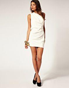 ASOS   ASOS One Shoulder Dress with Drape Front at ASOS
