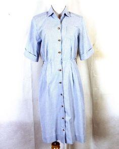 dd6f6fa105607 vtg 80s Petites by Willi Blue White Striped Seersucker Like Shirt Dress sz  8 80s Fashion