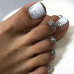 How To Nail Art At Home. Making the appropriate manicure and nail art design isn't only about coloration or pattern. Pretty Toe Nails, Cute Toe Nails, Glitter Toe Nails, Acrylic Nails, Pretty Toes, Gel Toe Nails, Toe Nail Color, Toe Nail Art, Summer Toe Nails