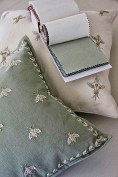 seafoam green and ivory linens from Norbar that coordinated with the pillows. Chelsea Textiles, Embroidered Cushions, Bees Knees, Soft Furnishings, Linen Bedding, Cushion Covers, Embroidery Patterns, Home Accessories, Decoration