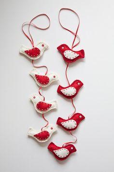 Felt Birds ornament - Home decor garland - Christmas birds decor