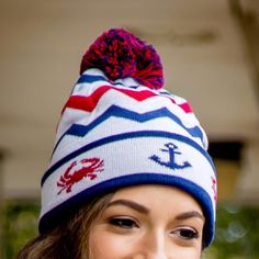 04347c48cfd Chevron Crab and Anchor Design (White with Multi Pom)   Knit Beanie Cap