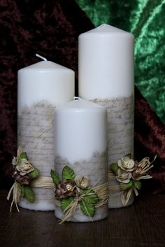 Como decorar velas con letras.