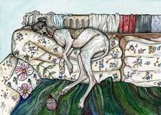 Romance with a Radiator - Whippet Art Dog Print.  Elle Wilson Selected by drawDOGS.com artist Stephen Kline for an ongoing exhibition of Pinterest dog art.
