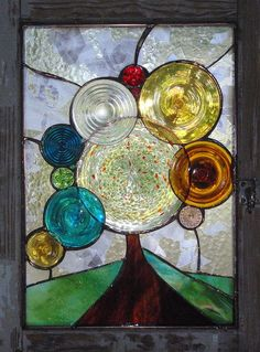 stained glass tree using vintage glass and window frame - by alisonsstainedglass.com