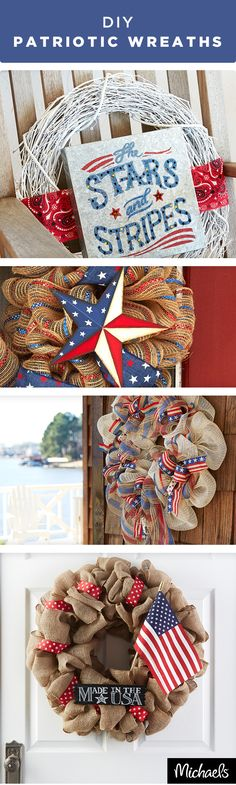 Greet your guests in style with a patriotic wreath. Red, white and blue ribbons and adornments make these wreaths the perfect addition to your porch. For more patriotic décor ideas visit Michaels.com.