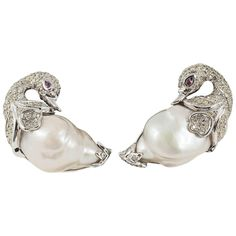 Diamond Swan studs | From a unique collection of vintage stud earrings at https://www.1stdibs.com/jewelry/earrings/stud-earrings/