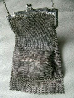 Antiques Bags, Handbags & Cases Antique Art Deco Greek Key Style Frame German Silver 4 Ball Tassel Mesh Purse