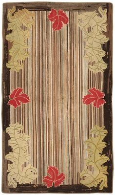 American Hand Hooked, Leaves and Stripes Rug - Circa 1920