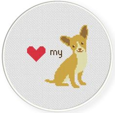 FREE Love My Chihuahua Cross Stitch Pattern