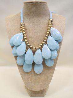 ADO | Cloth Necklace Light Blue & Gold Beads