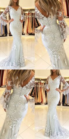elegant ivory lace prom dresses long,formal mermaid prom dresses for teens,long sleeves evening dresses #dressywomen #promdresses #eveningdresses #formaldresses