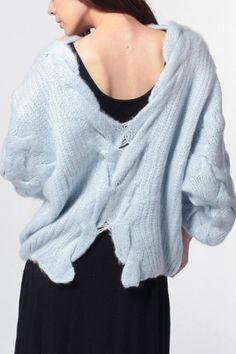 Blue Back Hollow-out Long Sleeve Loose Pullover Sweater