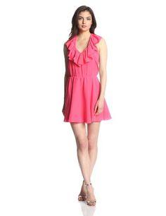 Amanda Uprichard Women's Silk Ruffle Halter Dress, Electric Rouge, Small Amanda Uprichard #beach #dress #golf #masters