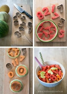 Läskande melonsiffror – Refreshing melon cut outs (Craft & Creativity) Yummy Drinks, Yummy Food, Food Humor, Decoration Table, Creative Food, Healthy Cake, Food Art, Food Inspiration, Kids Meals