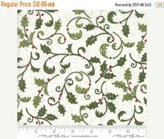 Anniversary Sale Snow Much Fun~Holly Berry Natural~Christmas Cotton Fabric by~Moda 19802-13~Fast Shipping HC407
