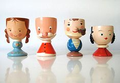 Aren't these egg cups pretty? Each vintage egg cup is made of wood, beautifully hand-painted, and adorned with intricate cute details.