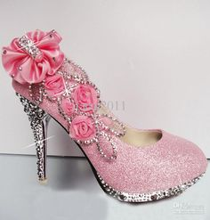Hot Pink Diamond Heels  hot pink diamond party bride dress