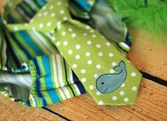 Boys Birthday Party Hat, Diaper Cover and Tie - Perfect for First Birthday, Smash Cake Pics, Photo Prop - Whale in Lime and Blues via Etsy