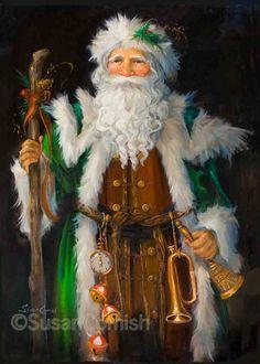 FATHER CHRISTMAS (GREEN) Susan Comish Christmas Art Gallery | Quality Prints & Original Artwork