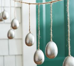 Mercury Eggs Garland...craft store eggs...a little jute...Here comes Peter Cottontail!