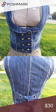 de1059f3cf7 Denim corset bustier vest XS Sexy denim corset vest has a double row of  buttons in